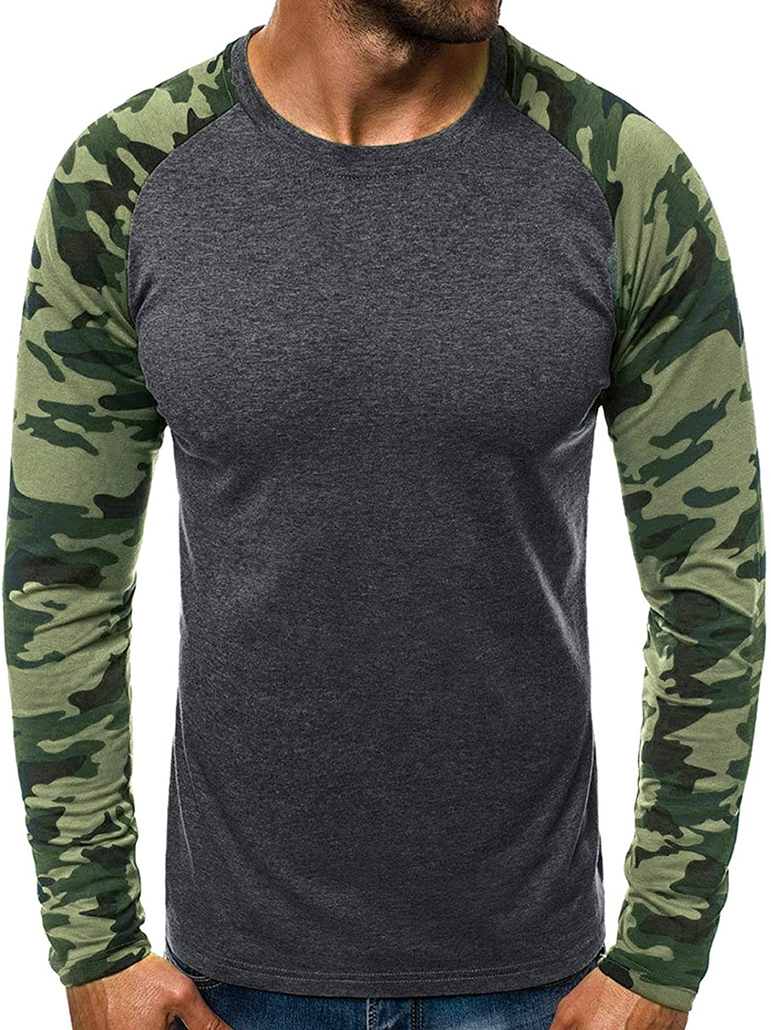 Maryia Men's Classic T-Shirt Lightweight Camo Long Sleeve Raglan Patchwork Casual Loose Fit Workout Fitness Tops