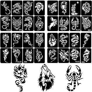 Xmasir 34 Stück Airbrush Temporäre Tattoo Schablonen Kit f