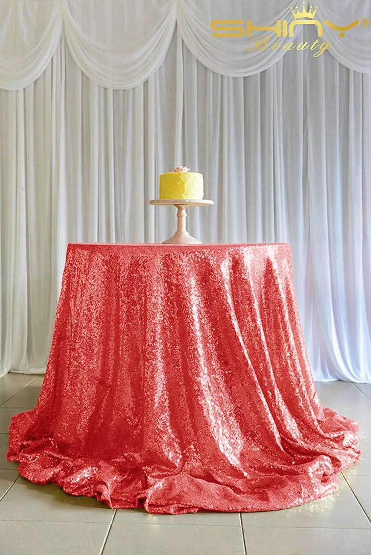 ShinyBeauty Mantel rojoondo de Lentejuelas Rojas de 120 Pulgadas para decoración de Bodas, manteles de Mesa de cumpleaos CT0510