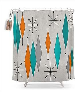 Vandarllin Mid-Century Modern Diamond Pattern Shower Curtain, 72