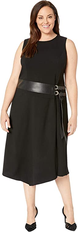 Plus Size Lux Dress with Belt and Faux Leather
