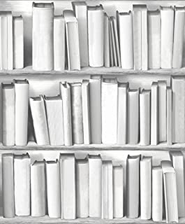 UGEPa Bookcase Wallpaper, Grey, 578429