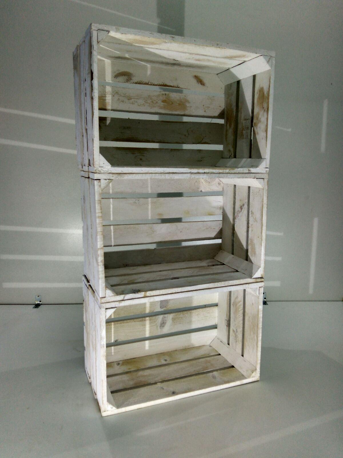 Lote 3 Cajas DE Fruta Madera Pino Blanco Vintage: Amazon.es: Hogar