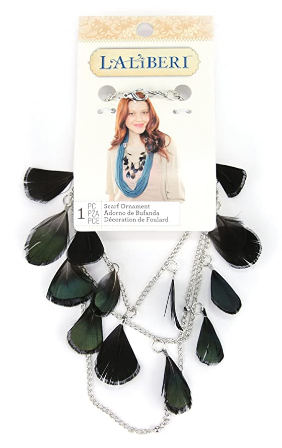 EK Success Brands Laliberi Swag Scarf Accessory, Feathers on Chain