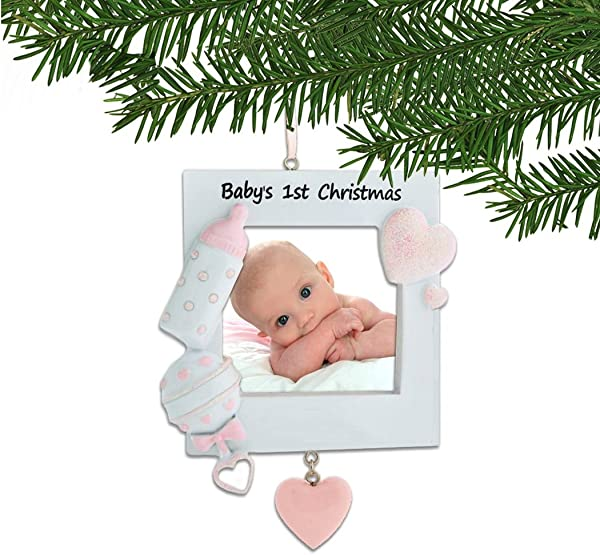 Personalized Baby S 1st Christmas Pink Photo Frame Tree Ornament 2019 Heart Bottle Rattle Girl S New Mom Shower Picture Display Milestone Memory Grand Daughter Gift Year Free Customization