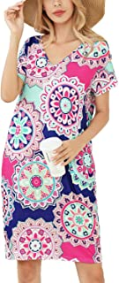 Mansy Womens Summer Floral Tshirt Dress Casual V Neck Short Sleeve Knee Length Loose Tunic Dresses with Pockets