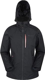 Mountain Warehouse Rainforest Womens Jacket -Waterproof Rain Coat, Mesh Lining, Packaway Hoodie, Pockets, Adjustable Hem Winter Jacket -for Walking, Travelling & Camping