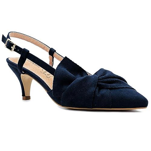3a8cd2eb2ef3 Greatonu Women Shoes Bow Tie Kitten Heels Slingback Dress Pumps Court Shoes