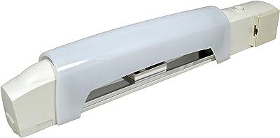 Tibelec 336330 Applique Salle de Bain Blanche avec Tube éco halgène + Interrupteur, Prise et diffuseur, Plastique, 50 W, 2 pôles + Terre