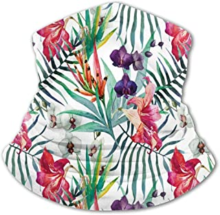 Verctor Cubierta Facial para niños Floral Acuarela Tropical Follaje exótico Paleta de Colores Vibrantes Temporada de Veran...