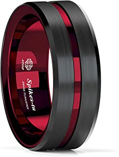 Sponsored Ad - ATOP 8Mm Splicing Black Brushed Tungsten Carbide Ring With Comfort Fit Red Inner ring Wedding Band Ring Men...