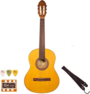 Rise by Sawtooth 6 String 3/4 Size Beginner's Acoustic Guitar with Accessories, Satin Gold Stain, Right Handed (ST-RISE-CL-3/4-N)