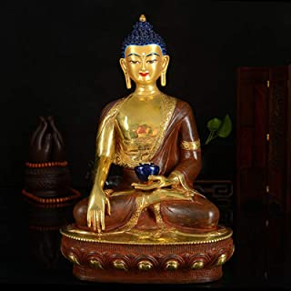 PPCP 33cm Large # Good # Buddhist Disciple Efficacious Safety Protection Gold-Plated Shakya Mani Brass Buddha Statue