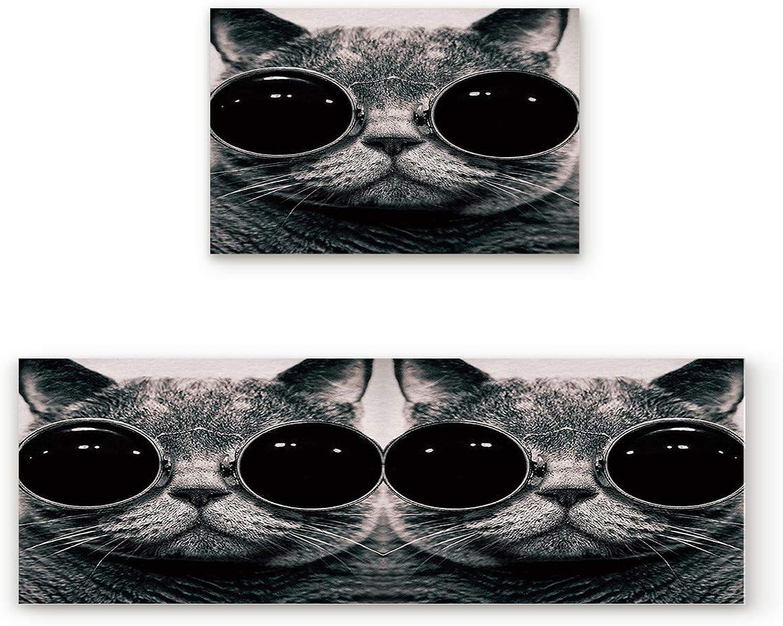KAROLA 2 Piece Non-Slip Kitchen Mat Doormat Runner Rug Set Thin Low Pile Indoor Area Rugs Cool Cat with Sunglasses 19.7 x31.5 +19.7 x47.2