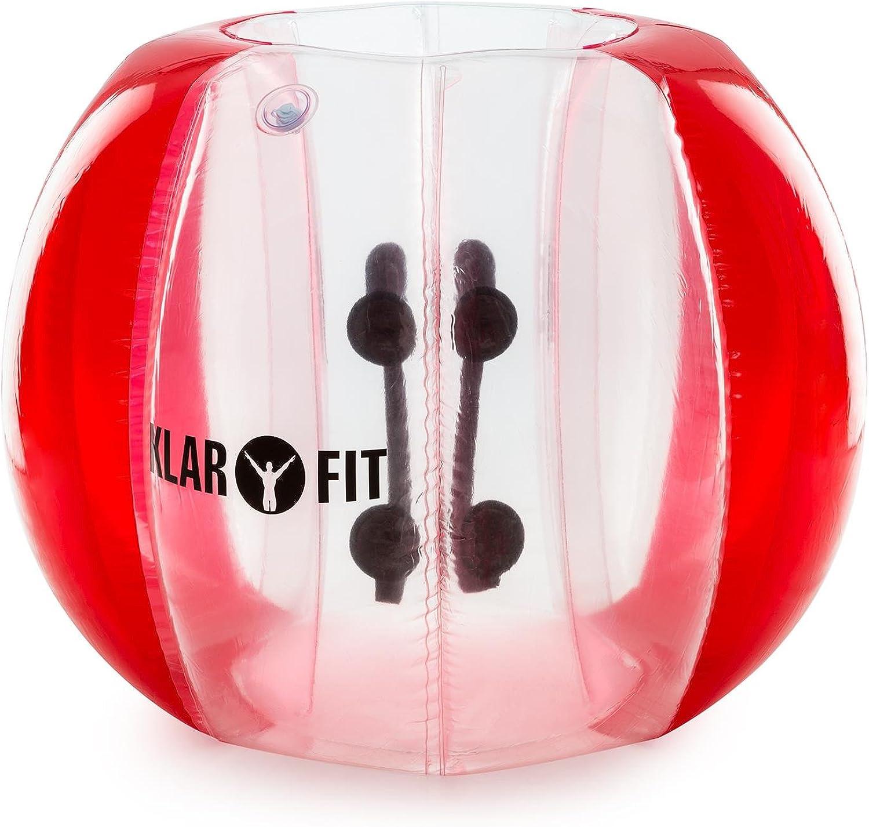 Klarfit Bubball KR • Bubble Ball • Blasen-Fußball • Bubble Soccer • ideale Maße für Kinder • Schultergurte und Handgriffe im Inneren • aufprallgeschützt • 8 Luftkammern • 2 Größen &b