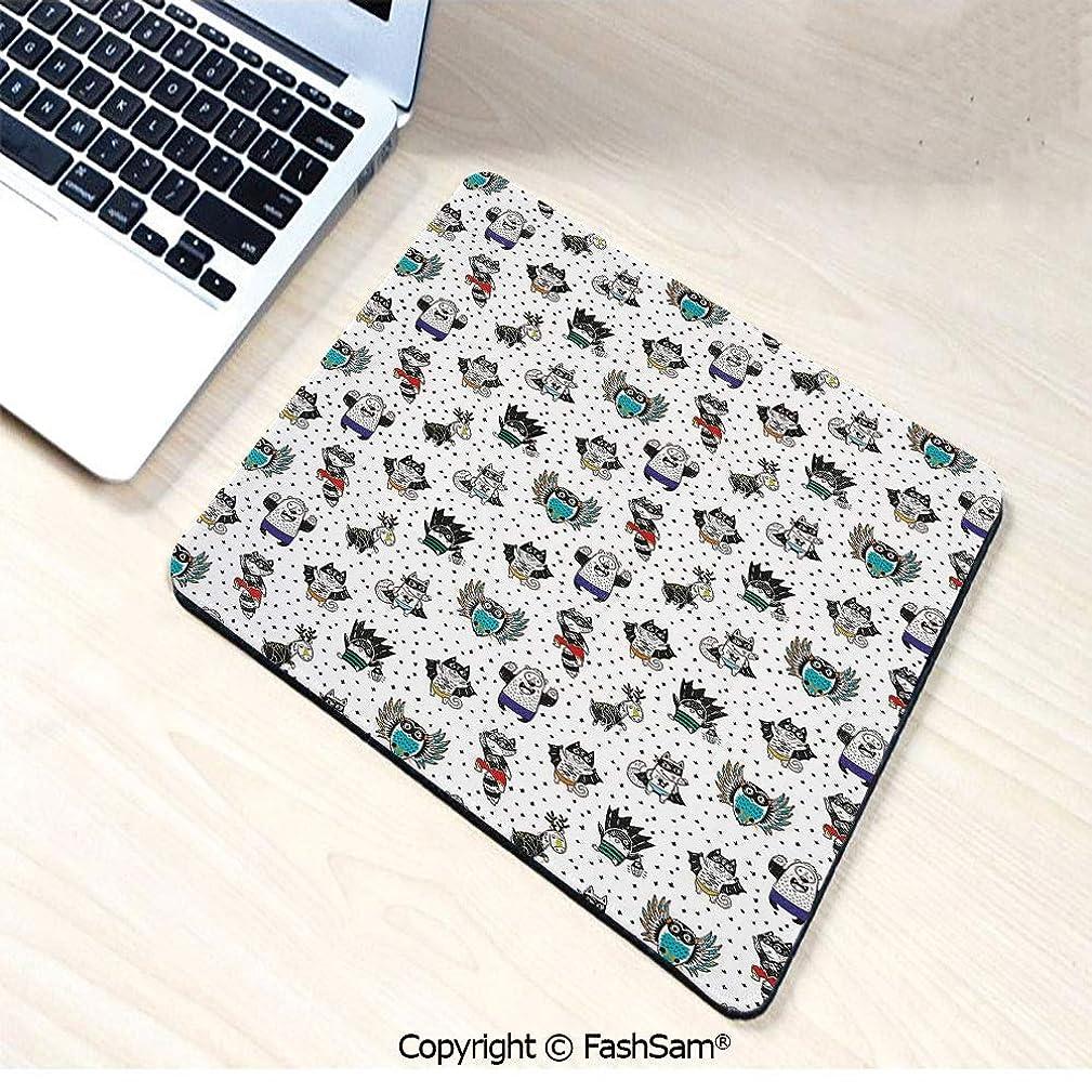 Personalized 3D Mouse Pad Animal Owl Dear Fox Cat Penguin Raccoon Bear in Superhero Costumes Print for Laptop Desktop(W7.8xL9.45)