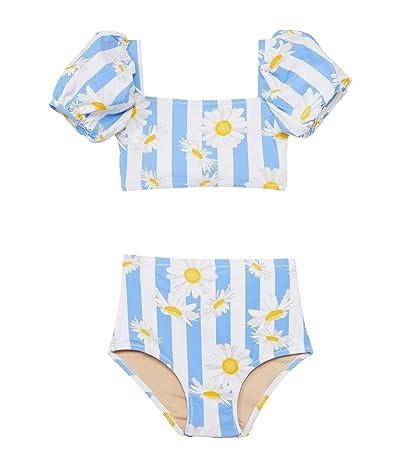 shade critters High-Waist Puff Sleeve Bikini Daisy Stripe (Toddler/Little Kids/Big Kids) (Blue) Girl