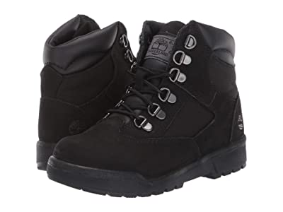 Timberland Kids Field Boot 6 Leather Fabric (Youth) (Black Nubuck) Boys Shoes