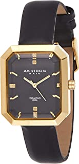 Akribos XXIV Women's Diamond Dial Leather Band Watch