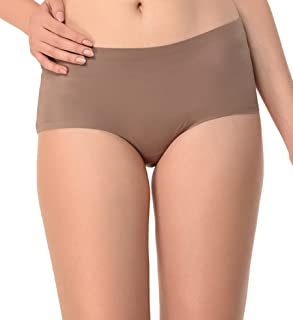 Glus Women's Polyester Be-One Bond -No Show Hipster Panty, Colour- Brown, Size - Large