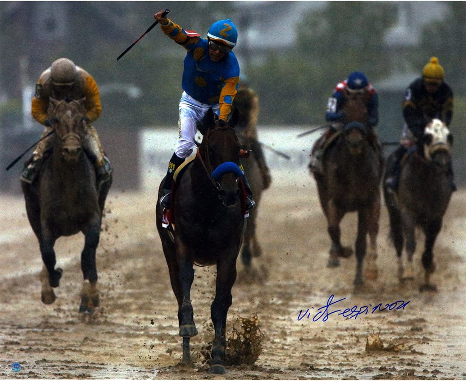 Steiner Sports Victor Espinoza Signed 2015 Preakness Photo, 16-Inchx20-Inch