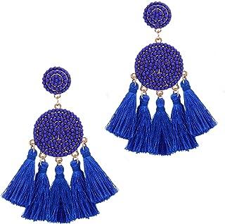 Beaded Tassel Earrings for Women Thread Fringe Drop Dangle Earrings Bohemia Statement Stud Earrings