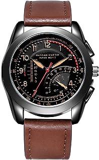 HANNAH MARTIN 日本の時計のムーブメントメンズファッション男の子のスポーツ クォーツレザーベルト防水腕時計-モデル HM301 (ブラウン)