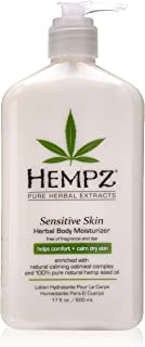 Hempz Sensitive Skin Herbal Body Moisturizer with Oatmeal, Shea Butter for Women and Men, Premium, Soothing Body Lotion with Hemp Seed, Cocoa Seed, Mango Seed for Dry Skin, 17 Fl Oz