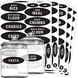 Talented Kitchen Pantry Labels - 105 Preprinted Chalkboard Kitchen Labels Sticker. Black Chalk, Water Resistant, Write-On, Reusable, Jar Label f/Pantry Organization Storage (Set of 105 - Chalkboard)