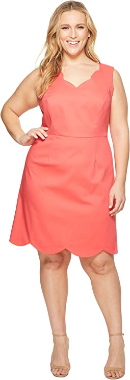 Adrianna Papell - Plus Size Elsa Cotton Nylon Scalloped A-Line