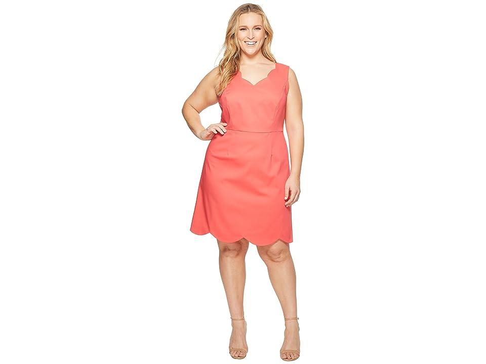 Adrianna Papell Plus Size Elsa Cotton Nylon Scalloped A-Line (Strawberry Pink) Women
