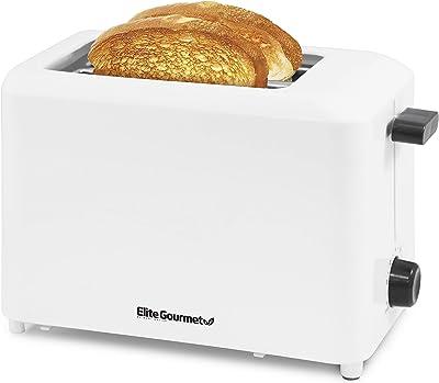 "Elite Cuisine - tostador de larga ranura (tacto frío), color blanco, Negro, 11.2 x 5.3 x 6.5"", 1"