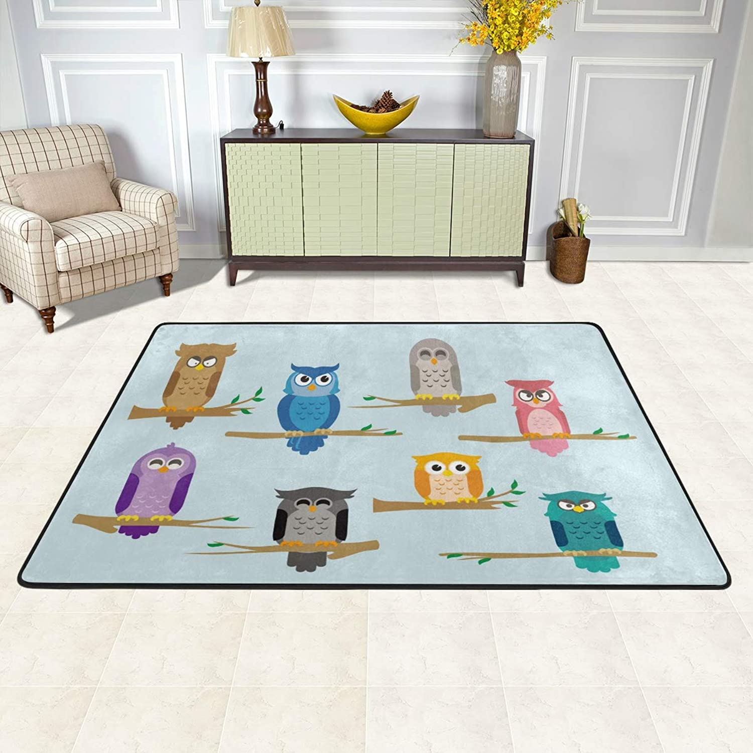 MALPLENA Cartoon Owl Branch Rugs for Living Room Doormat Carpet Floor Mats shoes Scraper for Living Room Dining Room Bedroom Kitchen Non Slip