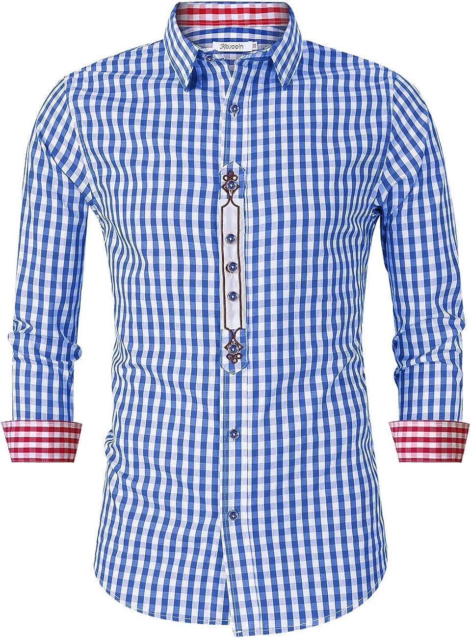 KOJOOIN Camisa Hombre Manga Larga Tradicional Camisa para ...