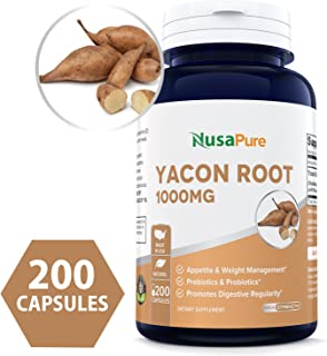 Yacon Root Extract 1000mg Serving 200 Capsules (Non-GMO & Gluten Free) - Raw Natural Prebiotic & Probiotic, Rich in FOS - Healthy Digestion & Weight Loss