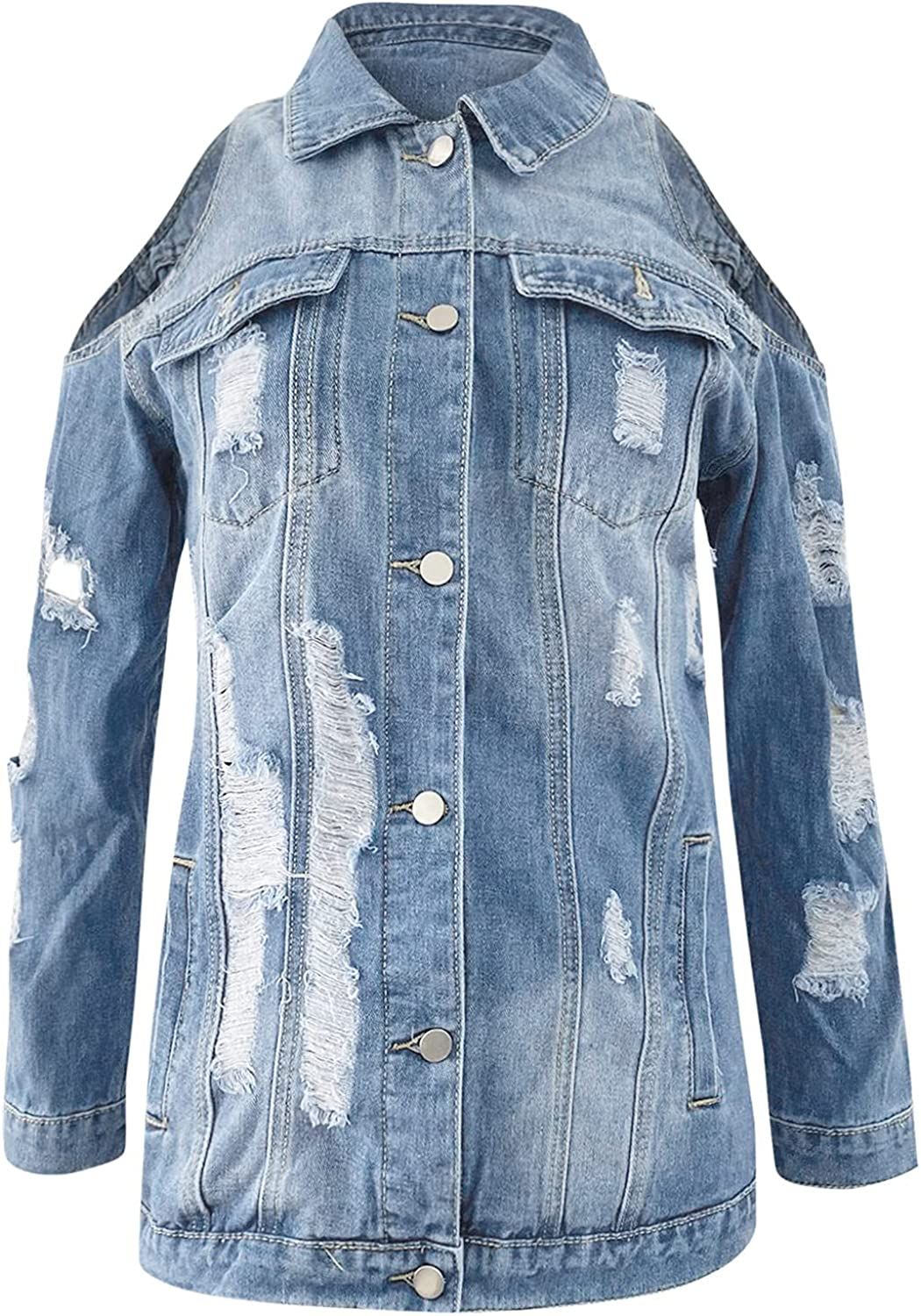 Women's Sexy Cold Shoulder Jean Jacket - Long Sleeve Button Up Jean Coat Ripped Denim Trucker Jackets with Pockets