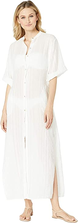 Michelle Mandarin Collar Caftan Cover-Up