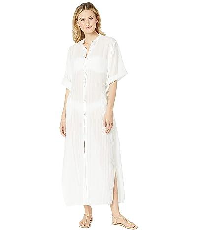 Robin Piccone Michelle Mandarin Collar Caftan Cover-Up (White) Women
