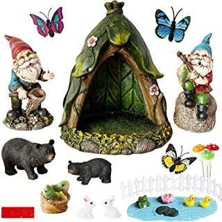 BangBangDa Outdoor Miniature Gnome Garden Accessories - Fishing Gnome Figurines Statue Set for Fairy Garden Decor for Birt...