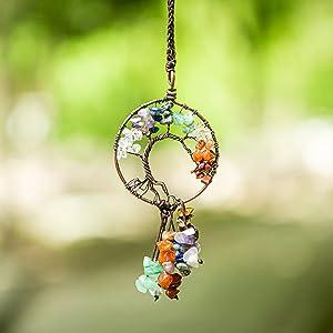 Tree of Life Crystals Hanging Ornament - 7 Chakra Crystal Stone Hanging Decoration Wall Hanger Natural Gemstones Yoga Meditation