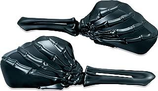 Kuryakyn 1758 Motorcycle Handlebar Accessory: Skeleton Hand Rear View Side Mirrors, Black Stems/Black Heads, 1 Pair