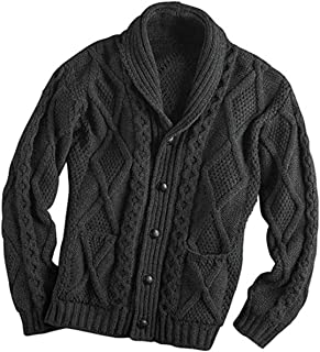 100% Merino Wool Aran Cardigan With Leather Buttons, Charcoal