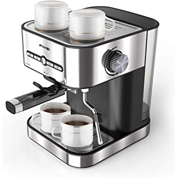 FIMEI Cafetera espresso,máquina de café espresso15 Bars,Cafetera para Cappuccino,Boquilla de Espuma de Leche Profesional, 1.5L Depósito de Agua, 2 Tazas,Todo Acero ...