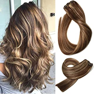 Human Hair Extensions Clip in Medium Brown with Honey Blonde Highlights 4/27 Double Weft Brazilian Hair Clip on Balayage Ombre Hair Extensions 15 inch 7 PCS Full Head Silky Straight 70g Remy Hair