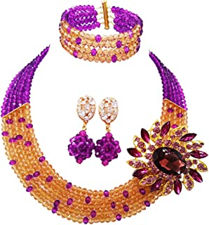 aczuv 5 Rows Women's Fashion African Beads Nigerian Necklace Bridal Wedding Jewelry Sets