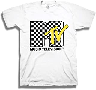 Mens MTV Shirt with Checkerboard - #TBT Mens 1980's Clothing - I Want My MTV T-Shirt