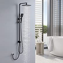 Lonheo 2 functies zwart douchesysteem met regendouche en handdouche, zwart doucheset zonder kraan