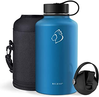 BUZIO Stainless Steel Water Bottle, BPA Free & Vacuum Insulated with Straw Lid and Flex Cap(Cold for 48 Hrs, Hot for 24 Hr...