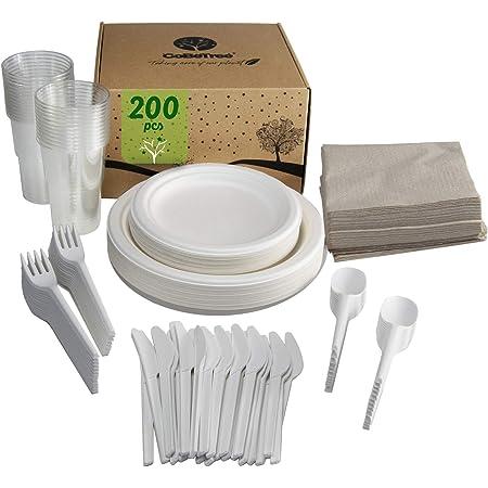 GoBeTree Vajilla de 200 Piezas para 25 Personas. Vajilla de caña de azúcar Incluye 50 Platos, 75 Cubiertos Reutilizables de almidón de maíz, 25 Vasos ...