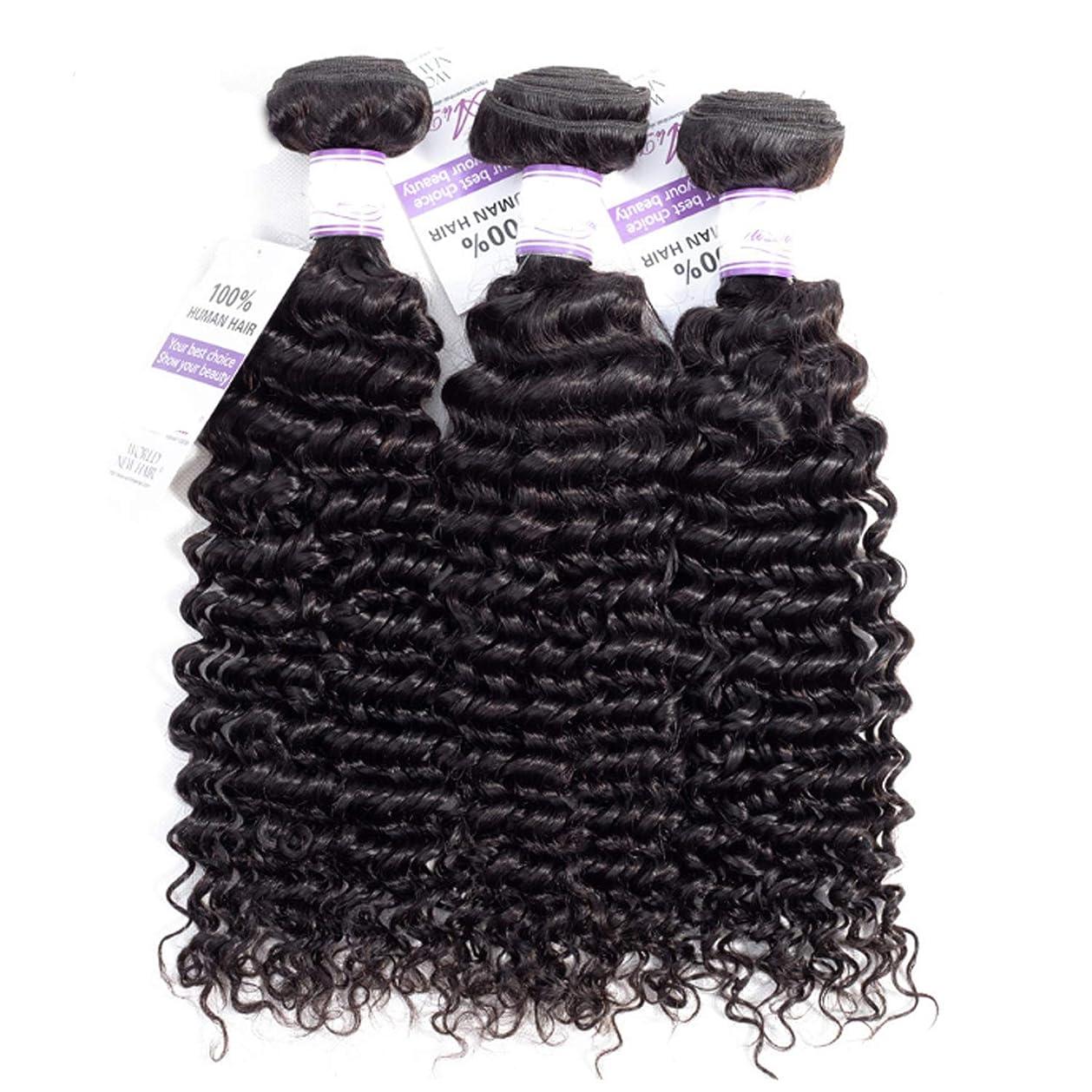 ジャンピングジャック気付く吐くブラジルのディープウェーブヘア織りバンドル100%人毛製織ナチュラルカラー非レミー髪は3個購入することができます かつら (Stretched Length : 24 26 28 inches)